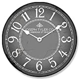 Cheap Gray & White Wall Clock, Available in 8 sizes, Most Sizes Ship 2-3 days, Whisper Quiet.