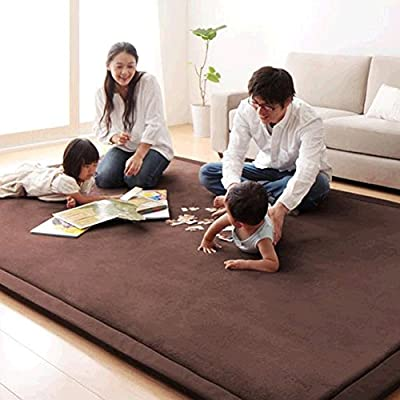 Japanese Thicken Coral Velvet Carpet Children Crawling Mat Tatami Mat Living Room Bedroom Mat Area Rug, MAXYOYO Soft Tatami Carpet Pad, 39 by 78 inch