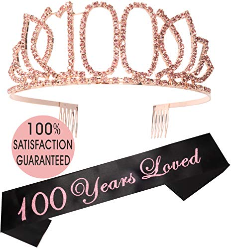 - 100th Birthday Tiara and Sash Pink| Happy 100th Birthday Party Supplies | 100 Year Loved Black Glitter Satin Sash and Crystal Tiara Birthday Crown for 100th Birthday Party Supplies and Decorations