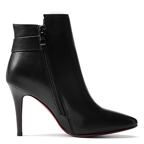 Stiletto Women's Seven Nine Toe Heel Black High Pointed Handmade Ankle High Elegant Genuine Dressy Leather Booties CAwSwqa