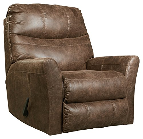 Ashley Leather Recliner - Ashley Furniture Signature Design - Tullos Recliner - Contemporary Reclining Faux Leather Couch - Coffee