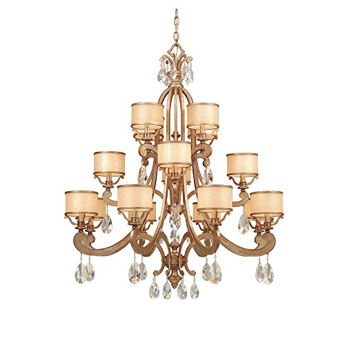 Corbett Lighting 71-016 ROMA 8+4+4LT CHANDELIER, ANTIQUE ROMAN SILVER Finish - CREAM ICE, CRYSTAL Glass