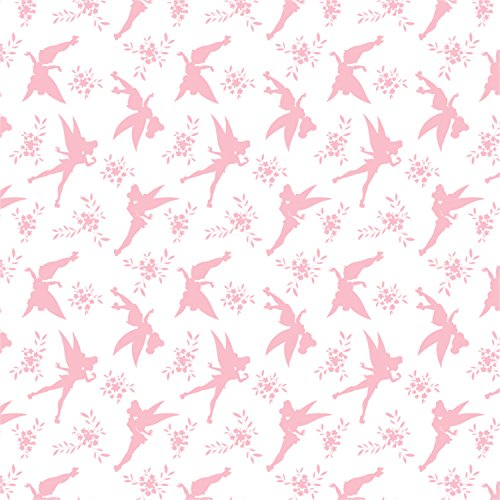 Disney Tinkerbell Tink Silhouette in Pink Fabric by the Yard (Tinkerbell Fabric)