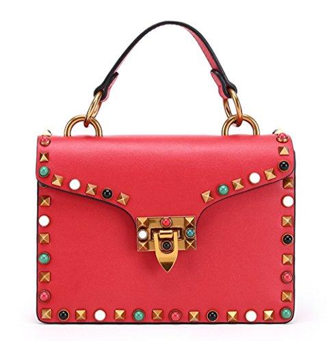 Bolsa para mujer XinMaoYuan Nail-Shoulder Keskin Bolsa Bolso Color puro estilo Horizontal tipo cubierta de laca encapsulado cuadrado pequeño Rojo