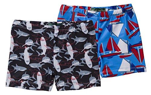 Holy Unicorn 2-Pack Toddler Little Boys Shark Boat Swimming Trunks Shorts Bottoms 2-3 ()