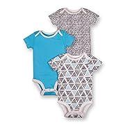 Lamaze Baby Boys Organic 3 Pack Shortsleeve Bodysuits, Black, 9M