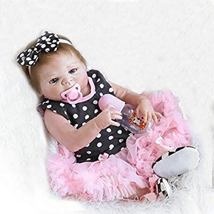 890bb08ff4ea Image Unavailable. Image not available for. Color  Funny House Full Vinyl  Silicone Body 18 in 45cm Realistic Lifelike Reborn Baby Cute Girl Doll