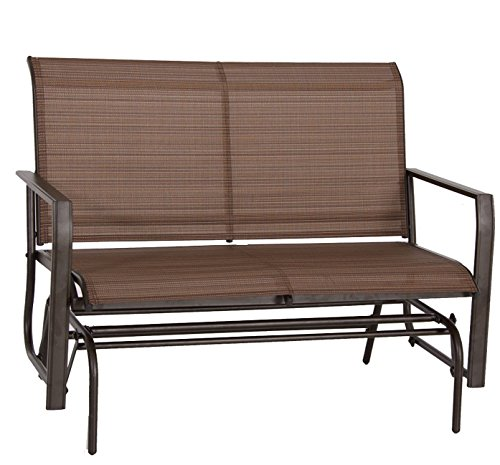 Kozyard Cozy Two Rocking Love Seats Glider Swing Bench/Rocker For Patio, Yard with Textilence Seats and Sturdy Frame (Tan) (Front Porch Gliders)