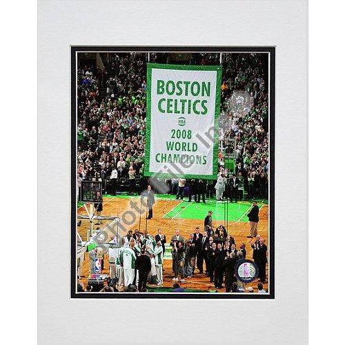 Photo File Boston Celtics 2008 Finals Championship Banner Raising Matted - Championship Banner Celtics