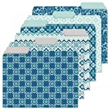 24 Coastal Blues File Folder Value Pack - Set of 24 (6 Designs) 1/3 Cut Staggered Tabs, Letter-Size Designed Folders