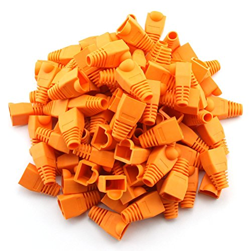 Cable Snagless Orange Network - 100 Pcs Cat5E CAT6 RJ45 Ethernet Network Cable Strain Relief Boots Cable Connector Plug Cover (Orange)