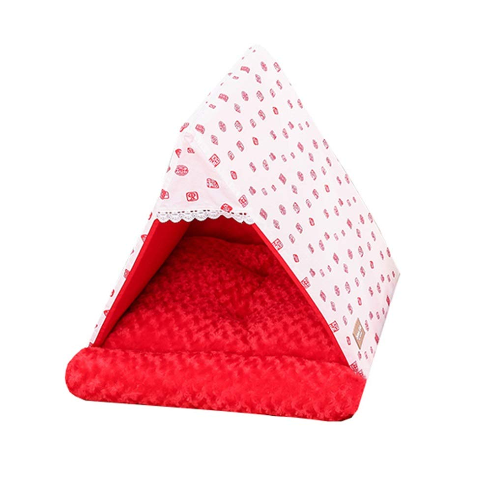 RED S RED S Dog Teepee, Portable Canvas Pet Teepee Tent Foldable Cat Bed Dog Puppy House Four Seasons Universal Dog Tent Nest (color   RED, Size   S)