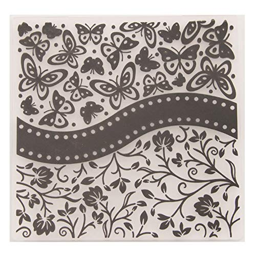 (Kwan Crafts Butterfly Flowers Plastic Embossing Folders for Card Making Scrapbooking and Other Paper Crafts,15x15cm )