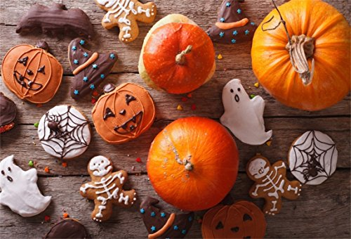 AOFOTO 7x5ft Halloween Gingerbread Backdrop Funny Biscuits Photography Background Fresh Pumpkin Kid Child Boy Girl Artistic Portrait Party Decor Photo Shoot Studio Props Video Drop Wallpaper Drape