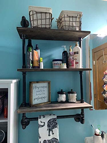 Bathroom Shelves Wall Mounted 3 Tiered,24in Industrial Pipe Shelving,Rustic Wood Shelf with Towel Bar,Farmhouse Towel Rack,Metal Floating Shelves Towel Holder,Iron Distressed Shelf Over Toilet