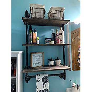 Image of Bathroom Shelves Wall Mounted 3 Tiered,24in Industrial Pipe Shelving,Rustic Wood Shelf With Towel Bar,Black Farmhouse Towel Rack,Metal Floating Shelves Towel Holder,Iron Distressed Shelf Over Toilet Home Improvements