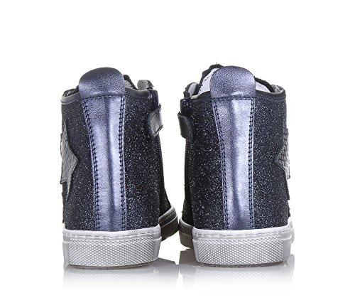 CIAO BIMBI - Blauer Sneaker mit Schnürsenkeln aus Leder und Stoff mit Glitzern, Mädchen