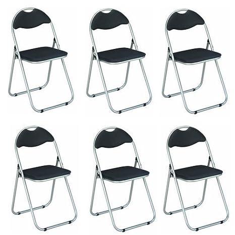 Haku Möbel Set di 6 sedie Pieghevoli, Metallo, Alluminio/Nero ...