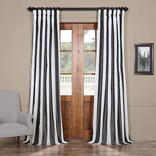 (un 1pc Eggshell Silver Grey Rugby Stripes Faux Silk Taffeta Window Curtain 84 Single Panel, Silk Polyester, Window Treatment Striped Vertical Lines Energy Efficient Lined Classic Rod Pocket)