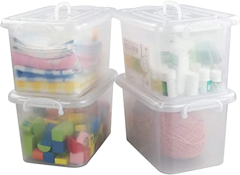 8.5 Quart Clear Storage Latch Box 3-Pack Plastic Container with Latches and Lid