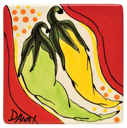 (Caffco International Dana Wittmann Square Ceramic Tile Trivet, Pepper)
