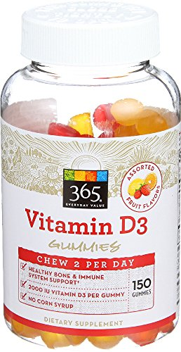 365 Everyday Value, Vitamin D3 Gummies, Assorted Fruit Flavors, 150 ct 51o2PNxIdAL