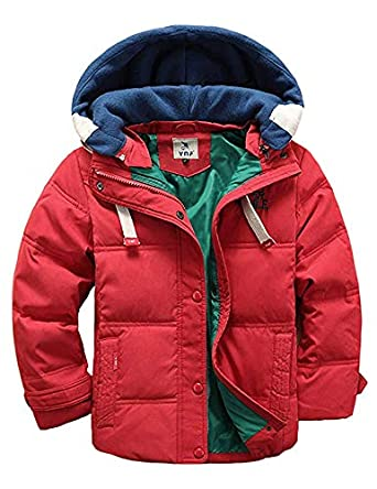 BUYKUD Kids' Boys Winter Coat Hooded Down Jacket Warm Quilted Parka Snow Outwear