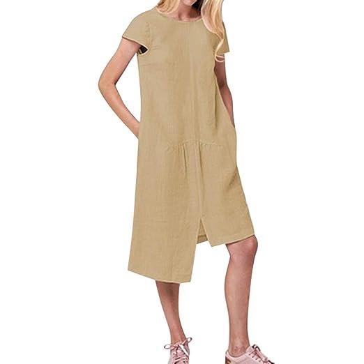 1ede469f65ca Winsummer Women s Cotton Linen Tunic Dress Pleated Short Sleeve Sundresses  Summer Maxi Dress Oversized Khaki