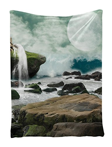 Nature Tapestry Mystic Decorations by Ambesonne, Waterfall Full Moon, Bedroom Living Kids Girls Boys Room Dorm Accessories Wall Hanging Tapestry, Green Multi