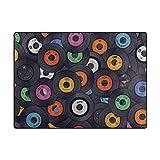 "My Little Nest Multicolor Music Records Area Rug 4'10"" x 6'8″ Lightweight Modern Floor Mat Non-Slip Indoor Outdoor Decor Soft Carpet For Bedroom Living Dining Room"