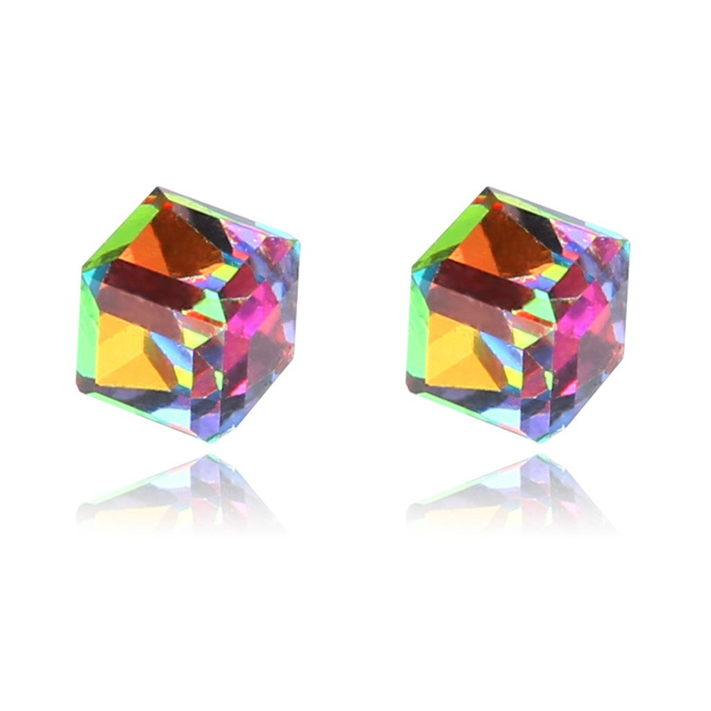 SCASTOE Women Girls 1 Pairs Weight Loss Magnetic Water Cube Health Magnet Ear Stud Earing (Colorful)