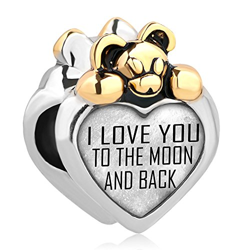 You To The Moon And Back Photo Charm Bear Heart Beads For Bracelets (Love You) ()