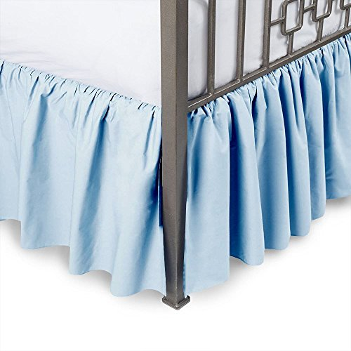 Sleepwell Light Blue Solid, Full Size Ruffled Bed Skirt 15 inch Drop Split Corner,100 Percent Pure Egyptian Cotton 400 Thread Count, Wrinkle & Fade Resistant