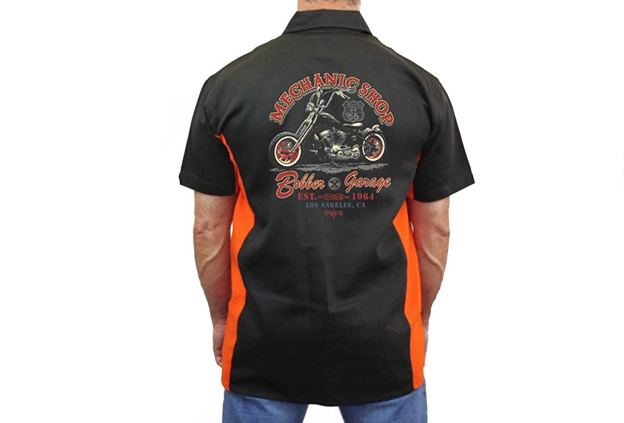 Biker Mechanic Work Shirt Mechanic Shop Bobber Garage Black//Orange