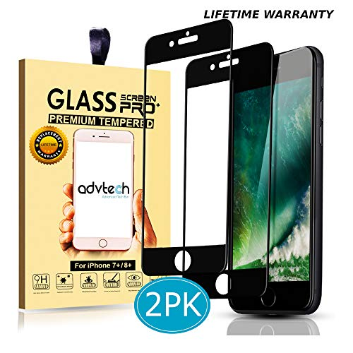 ADVTECH [2-Pack] iPhone 7 8 Plus Screen Protector [Full Coverage Black] Tempered Glass [Edge to Edge Protection] 3D Natural Touch [0.33mm Ultra Thin] for Apple iPhone + 5.5 inch [9H Hardened Glass]