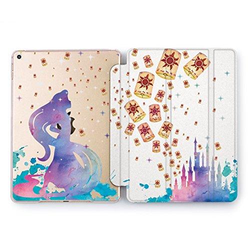 Wonder Wild Tangled Lantern Print Case IPad 9.7 2017 A1822 A1823 2018 A1893 A1954 Air 2 A1566 A1567 6th Gen Clear Design Smart Hard Cover Rapunzel Princess Fairy Tale Castle Cartoon Disney World Art ()