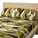full size camo bed set - Clara Clark Camouflage Collection Light Army Green CAMO Printed 4 Piece Bed Sheet Set Natural, Full (Double) Size
