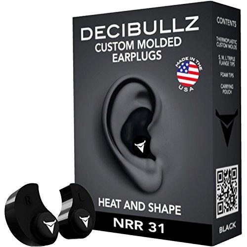 Decibullz personalisierbare Ohrstöpsel, Einheitsgröße für Reise, Sicherheit, Arbeit Einheitsgröße schwarz