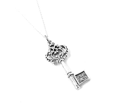 53932a4ab Antique Inspired Ornate Victorian Key Charm Necklace Sterling Silver Jewelry  (16 Inches)