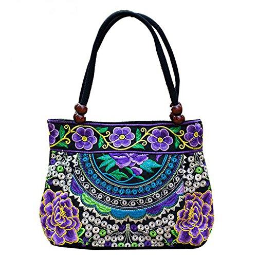 Vintage Embroidery Boho Womens Handbag Mandala Flower Embroidered Shoulder Bag (Purple Bug)