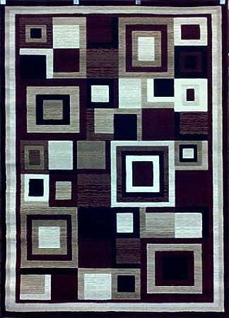 Americana Ara Geometric Modern Area Rug Burgundy Design 5 2 X 7 2 Furniture Decor