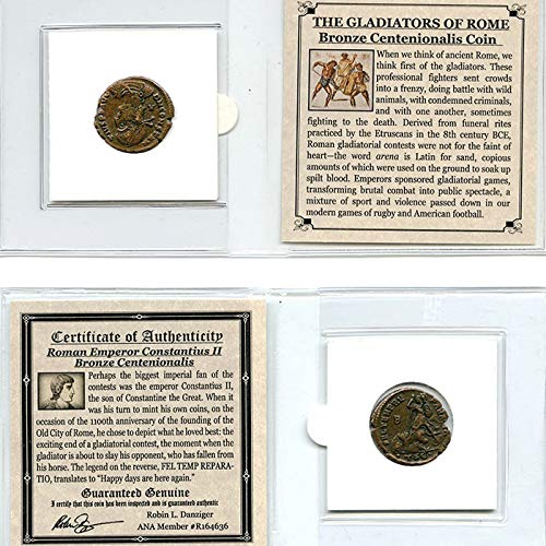 THE GLADIATORS OF ROME - Authentic Roman Bronze Centenionalis Coin of Constantius II in Mini Folder with Certificate of Authenticity - Genuine Ancient Antique from 337-361 AD - Historical Souvenir with COA