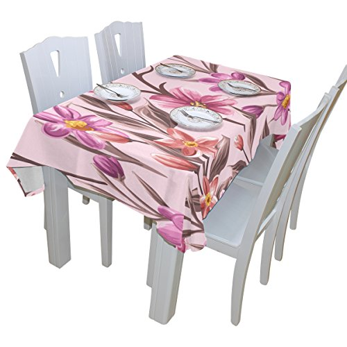 Tropical Floral Print 100% Polyester Tablecloth Table Cover for Dinner Parties Picnic Kitchen Home Decor, Multi Size Available