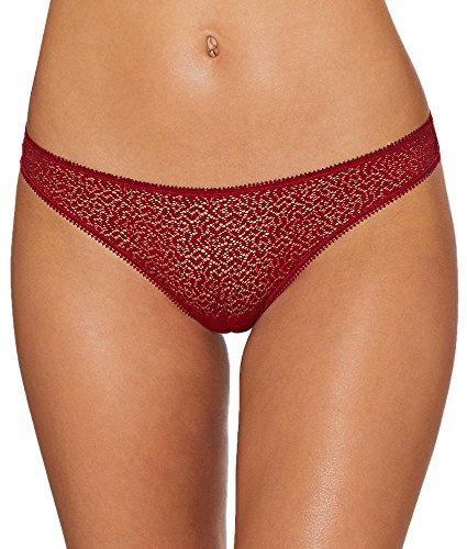 Dkny Lace Panty (DKNY Women's Modern Lace Trim Thong, Garnet, Medium)