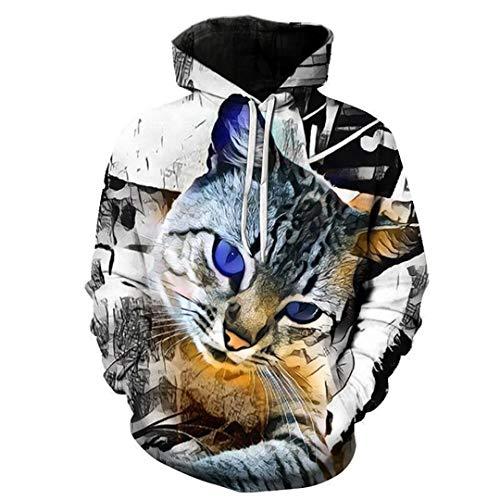 Tabby Cat Animal 3D Hoodies Lovely Outwear Couple Lover's Pullover Men Sweatshirts Punk Hoody Harajuku Tops 1 XXS