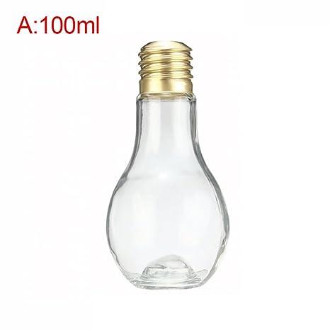 4pcs plástico botella de agua forma de bombilla) leche jarra de zumo de viaje de