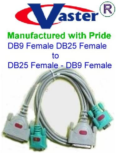 20301-6 Ft Two DB25 Female to Two DB9 Female Laplink Serial Cable 4 Connector SuperEcable