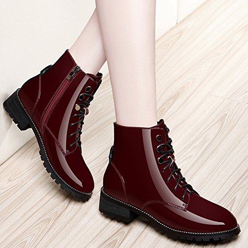 KHSKX-Martin Boots Female British Style Leather Boots With Thick Korean And Flat Shoes All-Match Cashmere Winter Shoes Claret