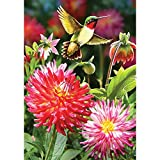 Hummingbird Dahlias – Standard Size, Decorative Double Sided, Licensed and Copyrighted Flag – Printed IN USA by Custom Decor Inc. 28 Inch X 40 Inch approx., Multi,  For Sale