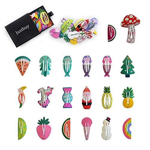 Justbuy Snap Hair Clips 40pcs No Slip Cute Colorful Hairpins with Animal Fruit Figure Pattern Metal Barrettes for Baby Girls Toddlers Kids Women Accessories in Box